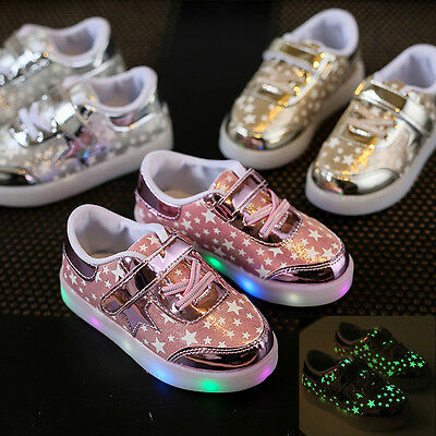New Kids Boys Girls Shoes LED Light Up Luminous Sport Sneakers Trainers