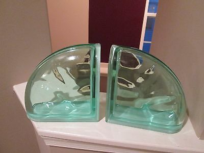 Pegasus Glass Block Lot Of Two Wavy Glass Green 1/4 Round