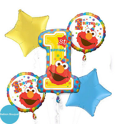 Sesame Street 1ST Birthday Party Supplies FOIL BALLOON BOUQUET PACK OF 5