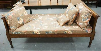 WALNUT DAY BED WITH BUTTERFLY AND FLORAL UPHOLSTERY. 75 X 36 INCHES. Lot 1253