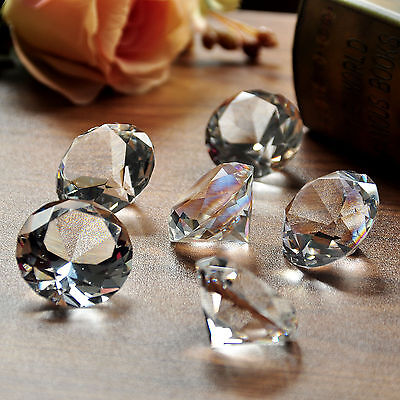 6pcs 40mm Crystal Paperweight Clear Diamond Shape Cut Glass Giant Lovely Gift