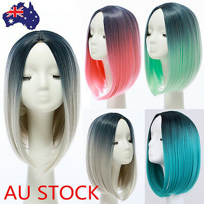 AU Heat Resistant Synthetic Lace Front Ombre Wigs Straight Long Bob Hair+Wig Cap