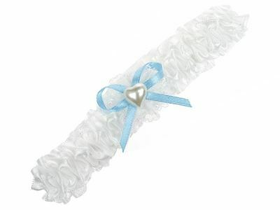 Ladies White Blue Heart Bead Bow Garter For Wedding Bridal Bridesmaid