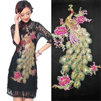 63CM Large Embroidery Sewing Craft Cloth Peacock Applique Patch Clothing DIY ♫