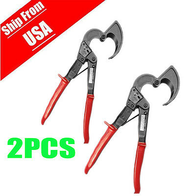 2x Aluminum Copper Ratchet Cable Cutter Wire Cutting Hand Tool Cut Up To 240mm2