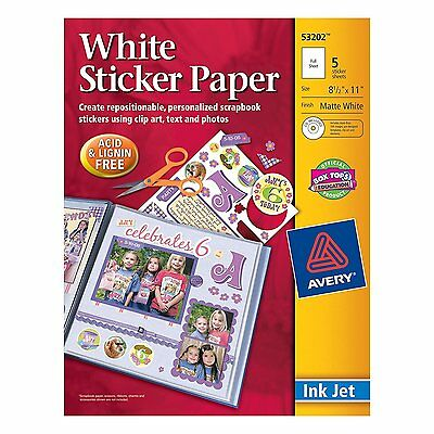 Avery Sticker Paper, 8.5 x 11 Inches, White, Pack of 5 53202