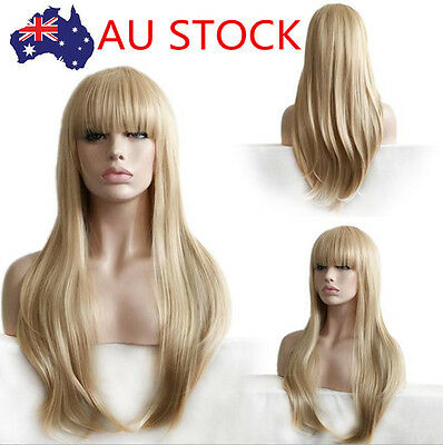 AU Women Long Straight Wig Natural Light Blonde Blunt Fringe  Cosplay Party Wigs
