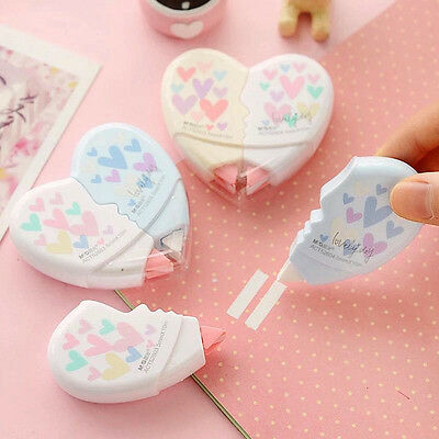 2 Pcs/pair Love Heart Correction Tape Kawaii Stationery Office School Supplies