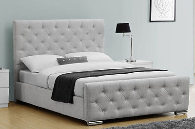 Luxury Grey Silver Soft Chenile Fabric Upholstered Bed Frame Double King Size