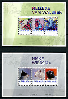Netherlands 2017 MNH Living Heritage Farm Animals Cats Dogs Cows 4x 3v MS Stamps
