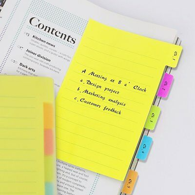 Eagle Divider Sticky Notes 60 Ruled Notes, 4 x 6 Inches, Assorted Neon Colors