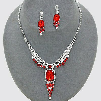 Red jewellery diamante set necklace earrings sparkly prom rhinestone 0500