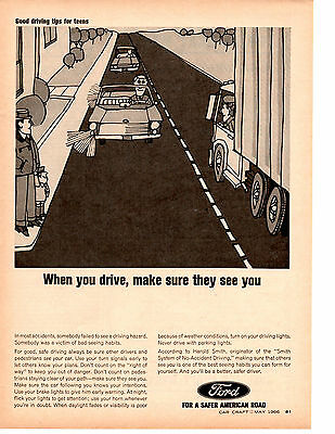 1966 Ford / Good Driving Tips For Teens ~ Original Print Ad