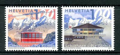 Switzerland 2017 MNH Schilthorn - Piz Gloria 2v Set Mountains Cable Cars Stamps