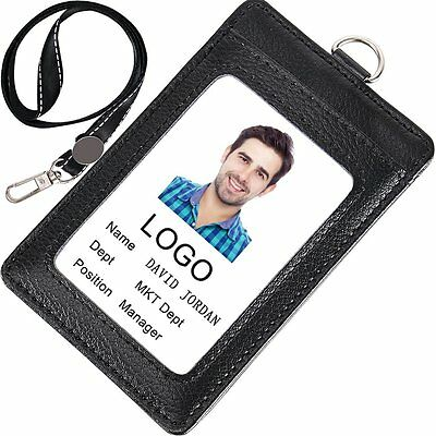 Acctrend Badge Holder, Genius Leather ID Badge with Lanyard-3 Cards Slot-Black