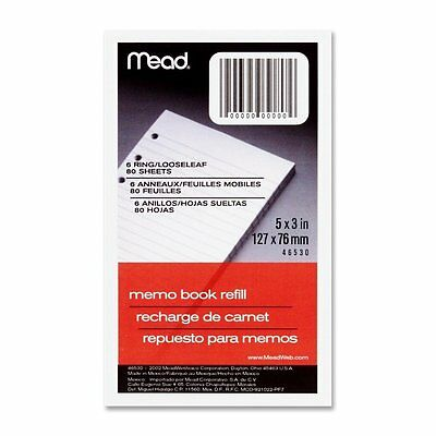 """6 Pack Of Mead 46530 3"""" x 5"""" Memo Book Refill, 80 Sheets, White"""