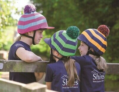 NEW Shires Striped Fun Colourful Pom Pom Riding Hat Helmet Skull Cap Cover