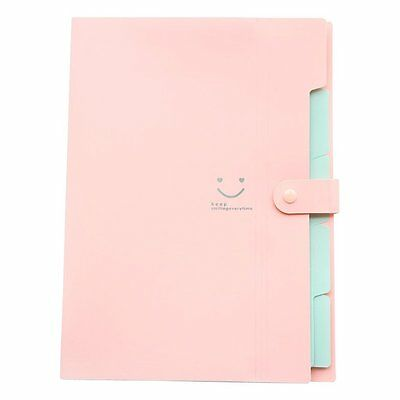 Skydue Letter A4 Paper Expanding File Folder Pockets Accordion Document Pink