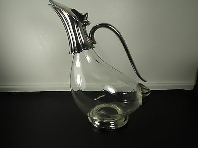 Vintage Silver Plated Glass Duck Swan Shaped Wine Decanter Carafe Claret Jug
