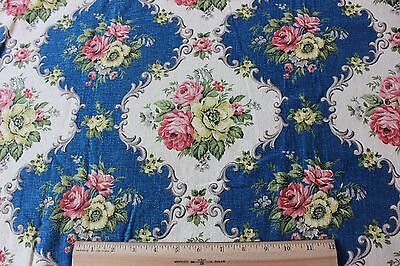 Old French Vintage Blue Barkcloth Cotton Home Fabric Textile c1940s~Roses