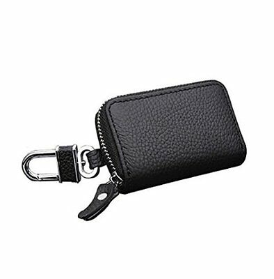 Andy Baby Premium Leather Car Keychain Key Holder Bag Black Zipper Case Remote