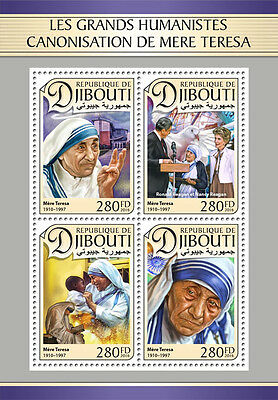 Djibouti 2016 MNH Canonization Mother Teresa Ronald & Nancy Reagan 4v M/S Stamps