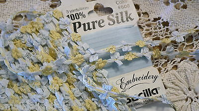 """18""""antique  Blue French Silk Buds Bows Ribbon All Bisque Mignonette Doll Dress"""