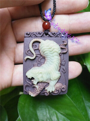 Natural Jade Tiger Pendant Necklace Fashion Hand-Carved Lucky Amulet Hot