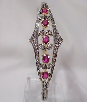 Art Deco Style Ruby and 0.70ct Diamond Bracelet in 18ct Two Tone Gold