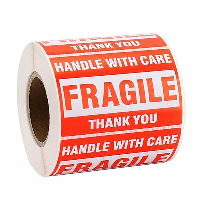 """MFLABEL 1 Roll Fragile Tapes - 2""""x3"""" Handle With Care Stickers - 500/ Roll Thank"""