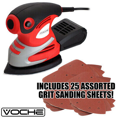 Voche® 200W Electric Palm Detail Sander 25 Sanding Sheets & Dust Collection Box
