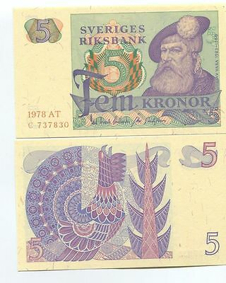 SWEDEN 5 KRONOR 1978 P-51d UNCIRCULATED