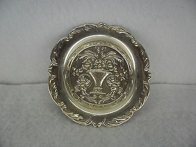 Very Pretty Embossed Sterling Solid Silver Pin Dish