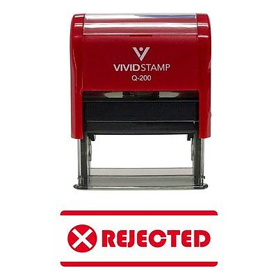 REJECTED w/ Icon Self-Inking Office Rubber Stamp Red - Medium