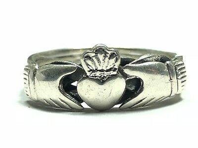 Beautiful Ladies Solid Sterling Silver Celtic Claddagh Heart Knot Ring - Size 10