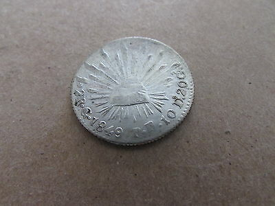 1849 Go PF Mexico Silver 2 Reales Eagle Snake Radiant Cap KM #374.8