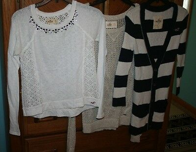 Lot of 3 Ladies Juniors HOLLISTER L/S Shirts/Tops All Size Small  Nice Condition