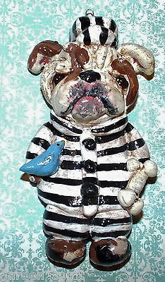 Vintage Folk Art English Bulldog Dog Jail Bird Ornament Doll Holiday Nostalgic P