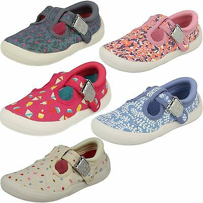 Girls Clarks Machine Washable T-Bar Doodles Briley Bow