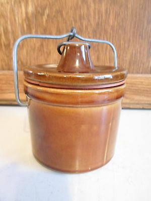 Small Brown Crock Jar with Bail Handle