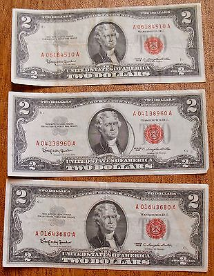 Lot Of 3 Red Seal 1963 2 Dollar Bill Notes