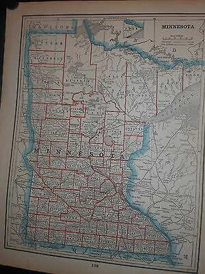 Minnesota  C.1880 Map By Cram Counties Cities Railroads Rivers Lakes