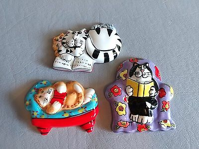 """CAT KITTY REFRIGERATOR MAGNETS Lot 2"""" to 2-1/2"""" Across"""