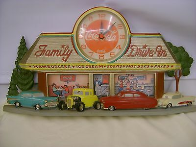 Coca-Cola Family Drive-In Hot Rod Wall Hanging Clock