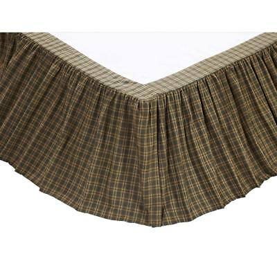 Barrington Green Plaid Country King Queen Twin Bed Skirt