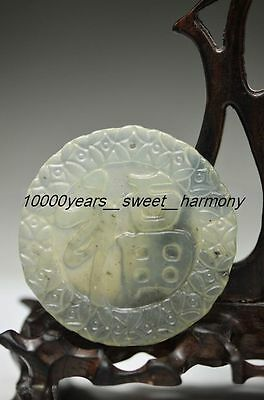 Unique Chinese Xiuyan Jade Hand Carved Lucky福 Pendant G18