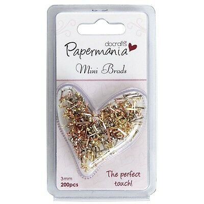 PACK OF 200 MINI BRADS 3mm - MIXED METALLICS - PAPERMANIA / DOCRAFTS
