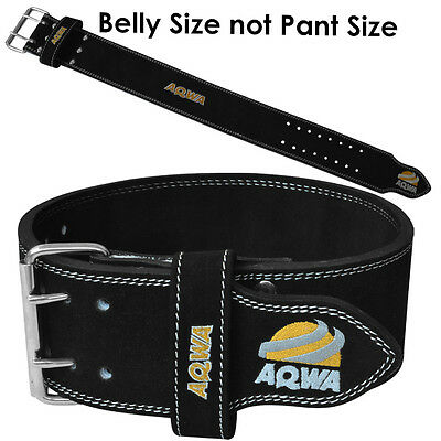 AQWA Weight Lifting Belt Gym Heavy Duty Powerlifting Training Men Leather Black