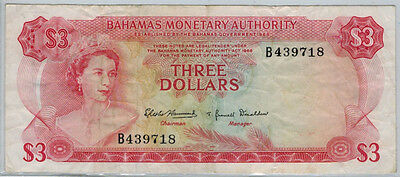 1968 Bahamas $3 Banknote, F-VF, P#28a, Discounted for 4 Pinholes