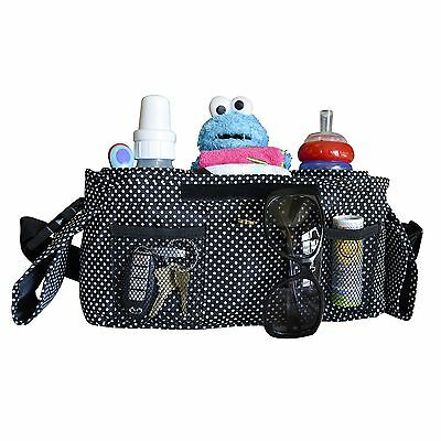 Highest Quality Universal Stroller Organizer, Black with White Dots